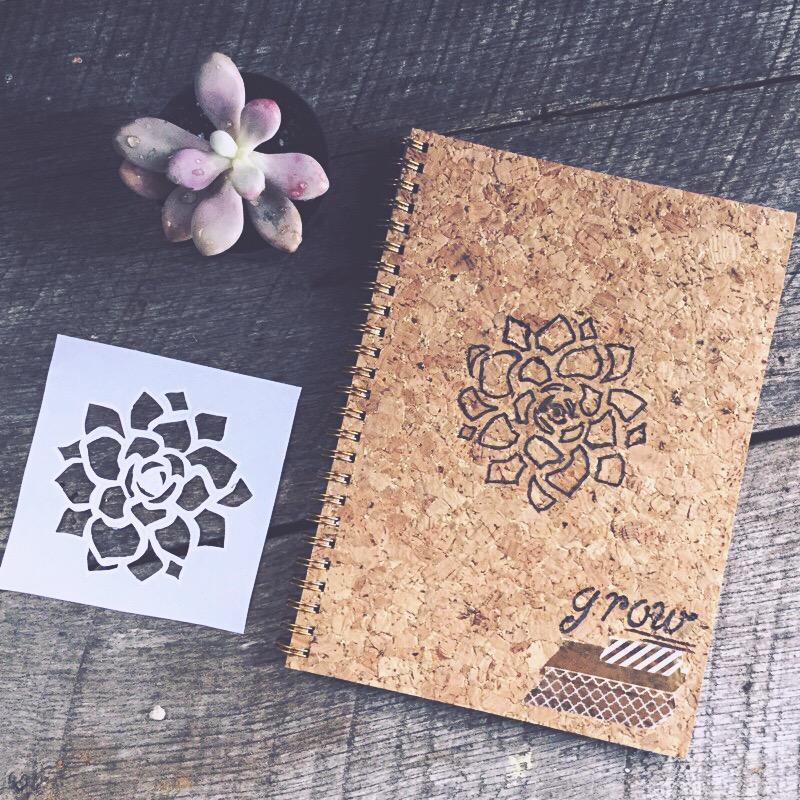 Cork burned garden journal via Desperately Seeking Gina