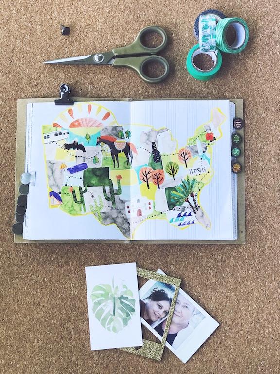 Summer journal inspiration using magazine cutouts to document summer time fun.