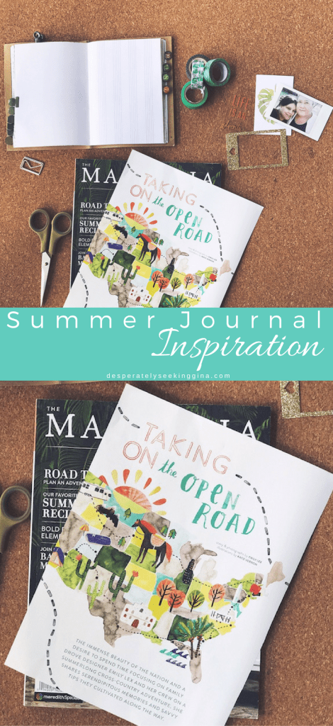 Summer journal inspiration using magazine cutouts to document summer time fun.