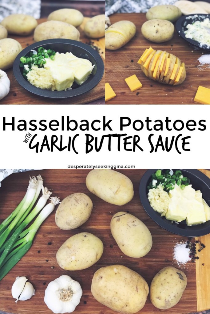 Hasselback potatoes with garlic butter sauce.