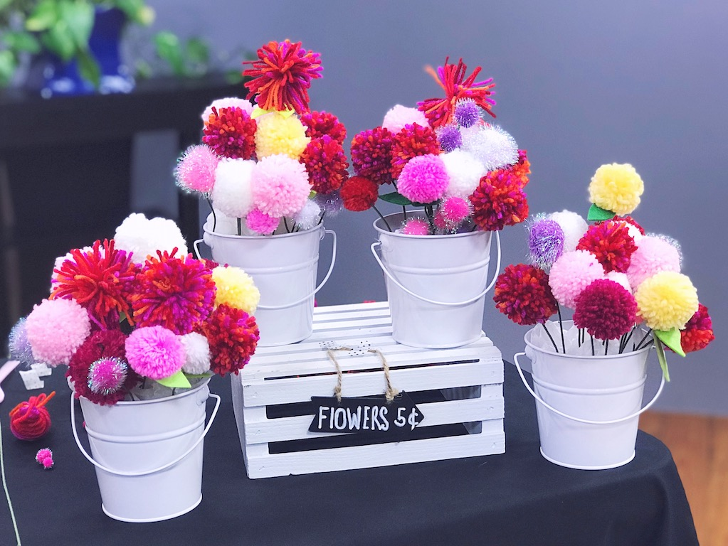 PomPom Flower Bouquet make a fun kid's craft idea for Valentine's Day, Mother's Day, or Every Day!