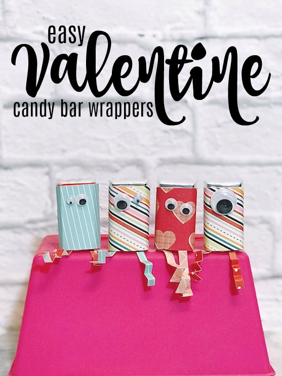 Easy Valentine Candy Bar Wrapper for classroom Valentines or kid's craft for Valentine's Day. #Valentines #KidsCraft