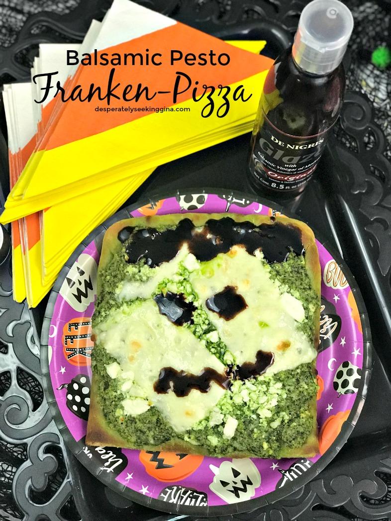 Balsamic pesto pizza that looks like Frankenstein via desperatelyseekinggina.com