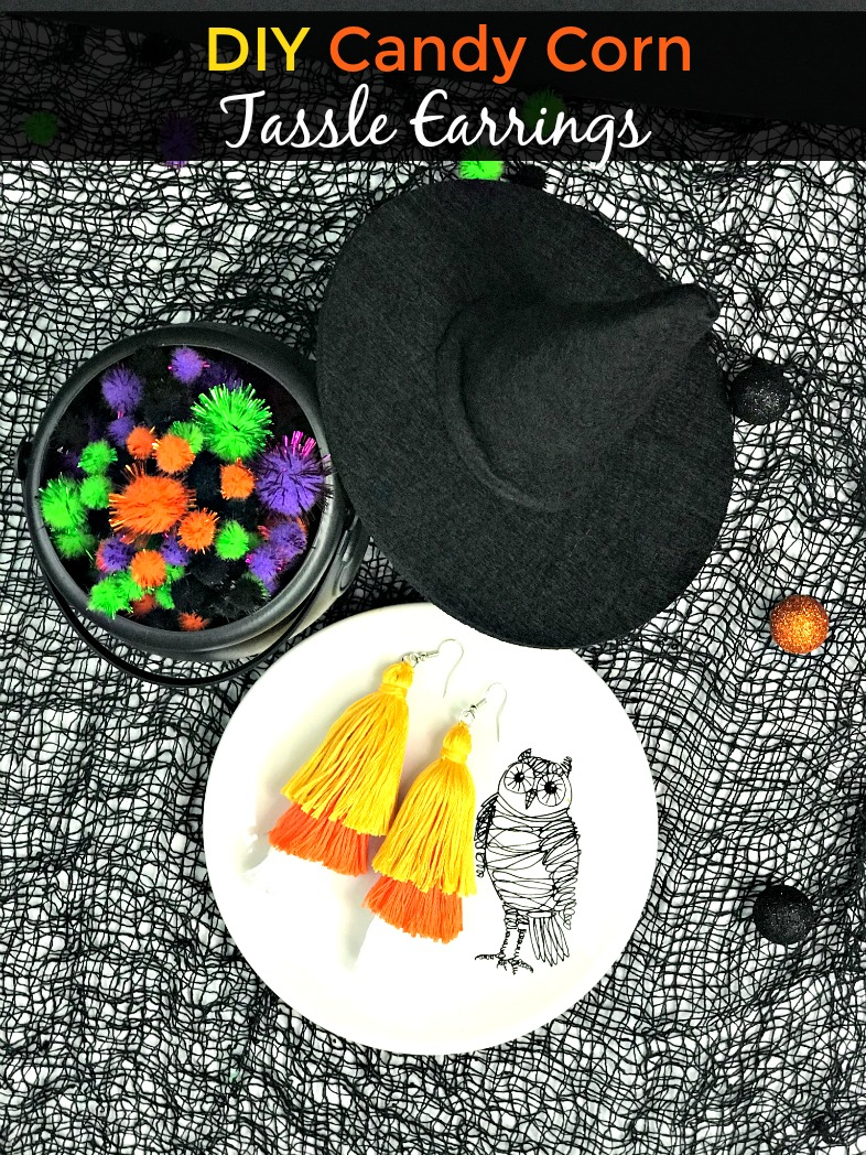 DIY Candy Corn Tassel Earrings for those times you want to dress up for Halloween but not in costume. Get into the holiday spirit with these fun Halloween earrings. #halloween #tasselearrings