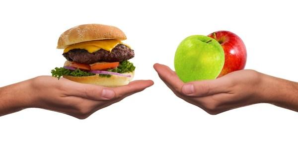 alimentacion comida sana comida basura