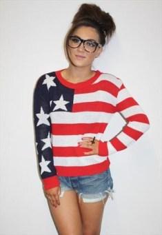 Sweater cuello en V con la bandera de EE.UU