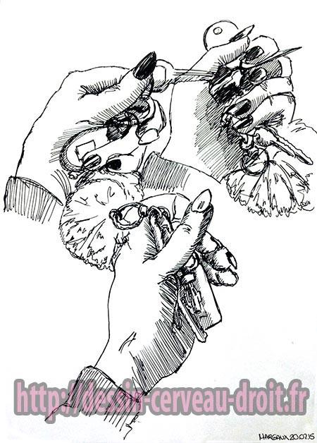 Trois fois sa main, dessinées avec des valeurs, par Margaux, en cerveau droit, le 20 février 2015.