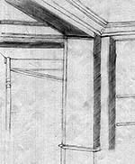 Décor, angle et plafond d'une pièce, dessiné par Margaux, le deuxième jour, le 18 février 2015.