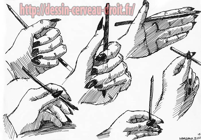 Six visions de sa main, dessinées par Margaux, le 20 février 2015.