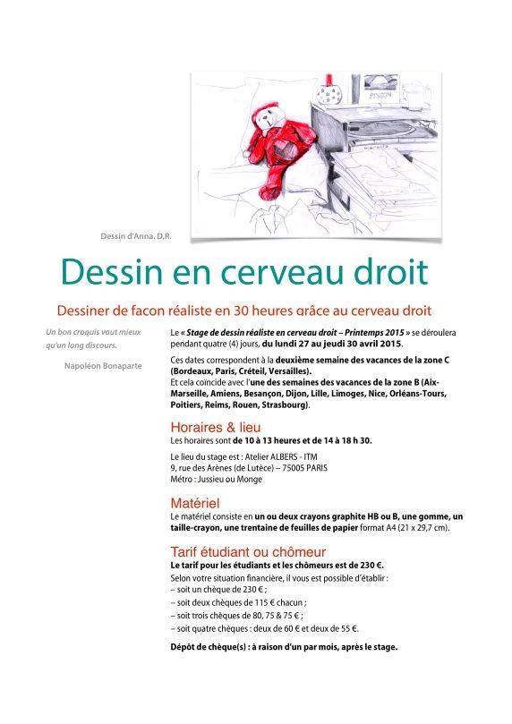 """Fiche d'information pour le """"Stage de dessin réaliste en cerveau droit, du 27 au 30 avril 2015. Page 1/2. Conception et réalisation : Richard Martens"""