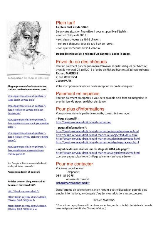 """Fiche d'information pour le """"Stage de dessin réaliste en cerveau droit, du 27 au 30 avril 2015. Page 2/2. Conception et réalisation : Richard Martens"""