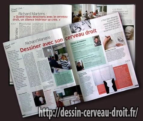 """Revue """"Pratique des arts"""", nº 121, 27 mars-29 mai 2015, pp. 62-65, consacrées au stage """"Apprendre à dessiner avec le cerveau droit""""."""