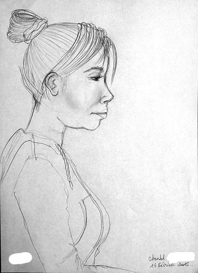Dessin en cerveau droit du portrait d'une condisciple, par Chantal, le lundi 16 février 2015.