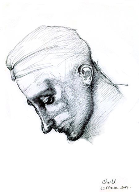 Dessin en cerveau droit. Copie d'un portrait de Michel-Ange, par Chantal, le jeudi 19 février 2015.