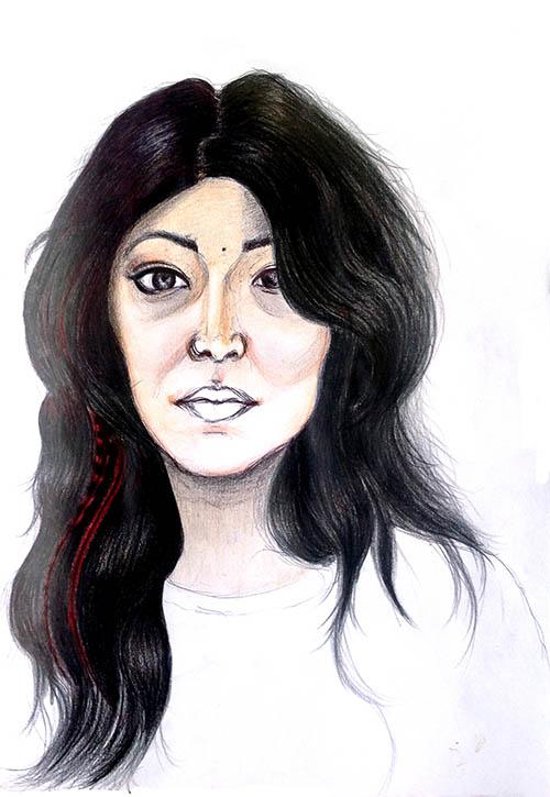 Dessin en cerveau droit d'un Autoportrait, par Chantal, le vendredi 20 février 2015.