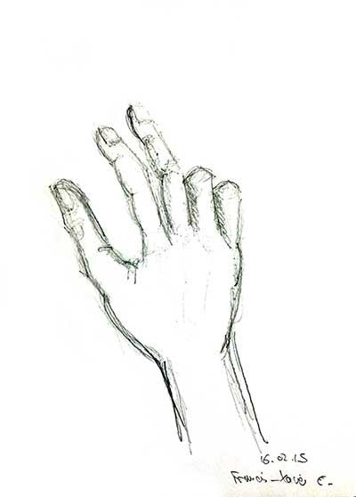 Dessin de sa main, au crayon, par François-Xavier, le lundi 16 février 2015.