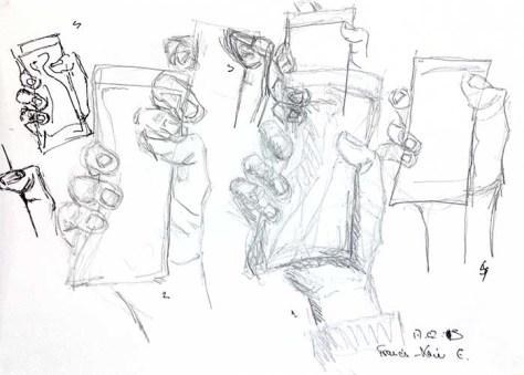 Plusieurs dessins de sa main, au crayon, par François-Xavier, le mardi 17 février 2015.