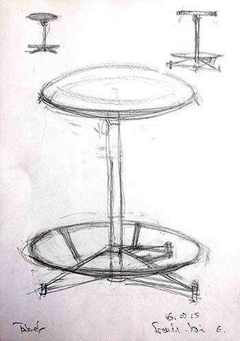 Un dessin et deux petits croquis d'un tabouret, au crayon, par François-Xavier, le lundi 17 février 2015.