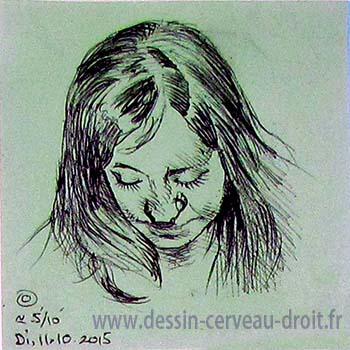 Portrait, sur Post-it d'une jeune amie, réalisé par Richard Martens, le 11 octobre 215.