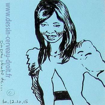 Portrait, sur Post-it d'une jeune femme, d'après photo, réalisé par Richard Martens, le 12 octobre 215.