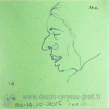 Croquis, sur Post-it, d'une tête de femme, réalisé par Richard Martens, dans le métro le 14 octobre 215.