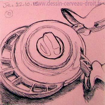 Dessin par Richard Martens, au stylo-bille sur Post-it rose, d'un appareil à découper les coins en arrondi, le 22 octobre 215.