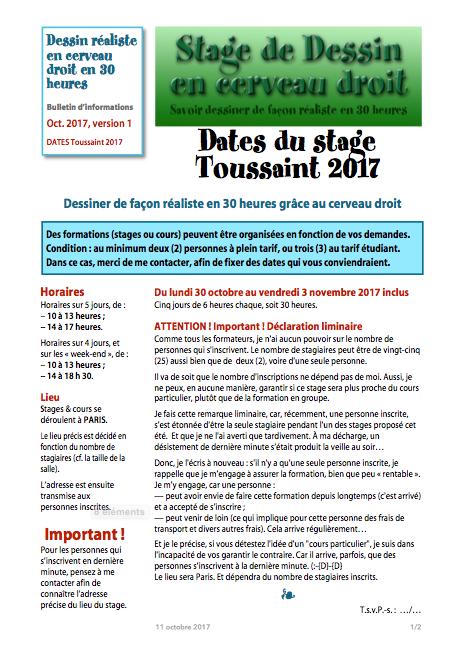 Stage de dessin en cerveau droit, DATES du STAGE de la Toussaint 2017, page 1/2.
