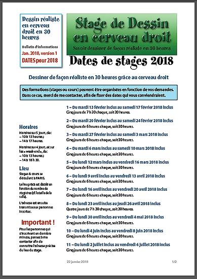 """Dates des stages de """"Dessin réaliste en Cerveau droit"""" pour 2018."""