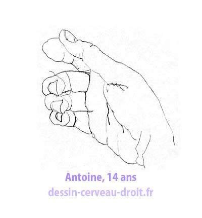 Un autre dessin de sa main, par Antoine, toujours après avoir appliqué la méthode de dessin réaliste en cerveau droit !