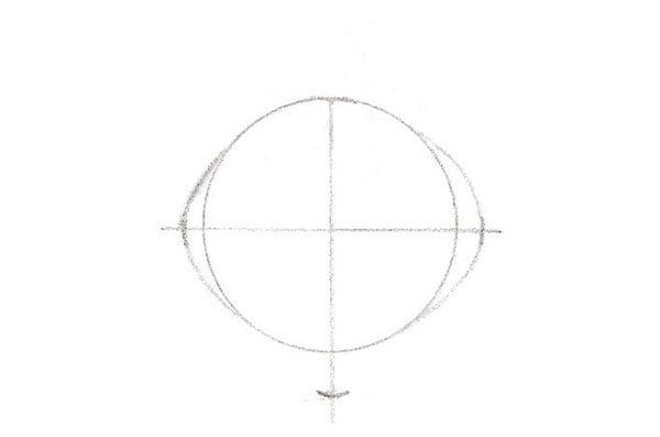 la forme de base du dessin d'une fraise: dessiner un ovale et une croix