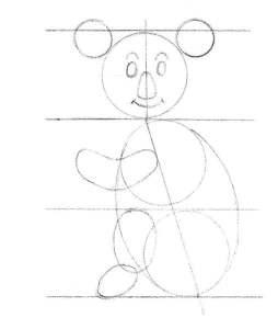 les formes de bases du dessin pour le visage et les oreilles du koala