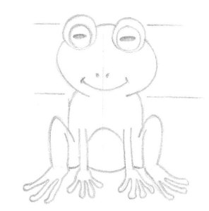Dessine les détails de la grenouille au crayon à papier