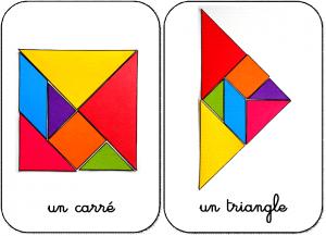 10 formes en tangram maternelle carré et triangle