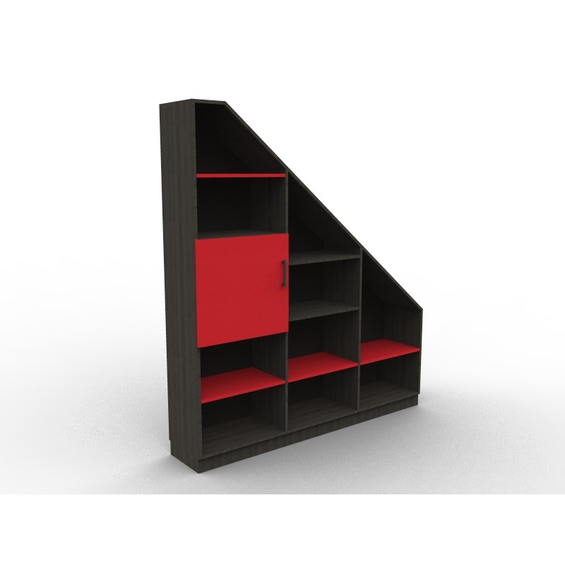 bibliotheque sous pente red and black