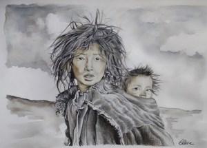 Dessin portrait d'Elise, enfants d'après photo de Phil Borges