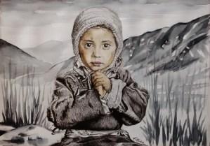 Dessin portrait d'Elise, petite fille d'après photo de phil-borges