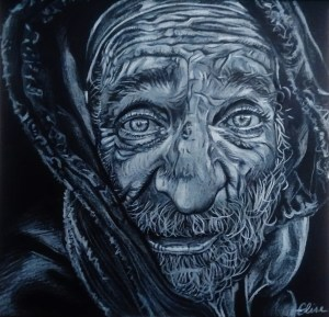 Dessin portrait d'Elise, sans abris d'après photo de Lee Jeffries