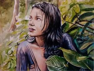 Dessin portrait d'une jeune fille de tribu amazonienne