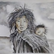 Dessin portrait de petites filles tibetaines