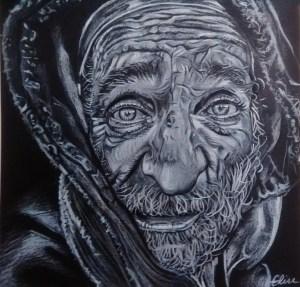 Dessin portrait du vieil homme SDF a la capuche