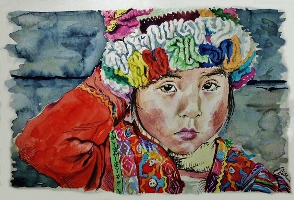 Dessin portrait d'une petite fille péruvienne au chapeau multicolore