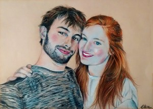 Portrait dessin d'après photo de couple