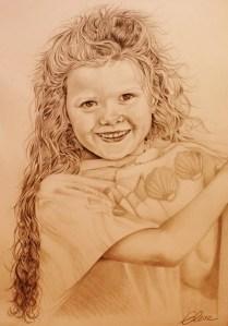 Portrait dessin d'après photo enfant d'une petite fille