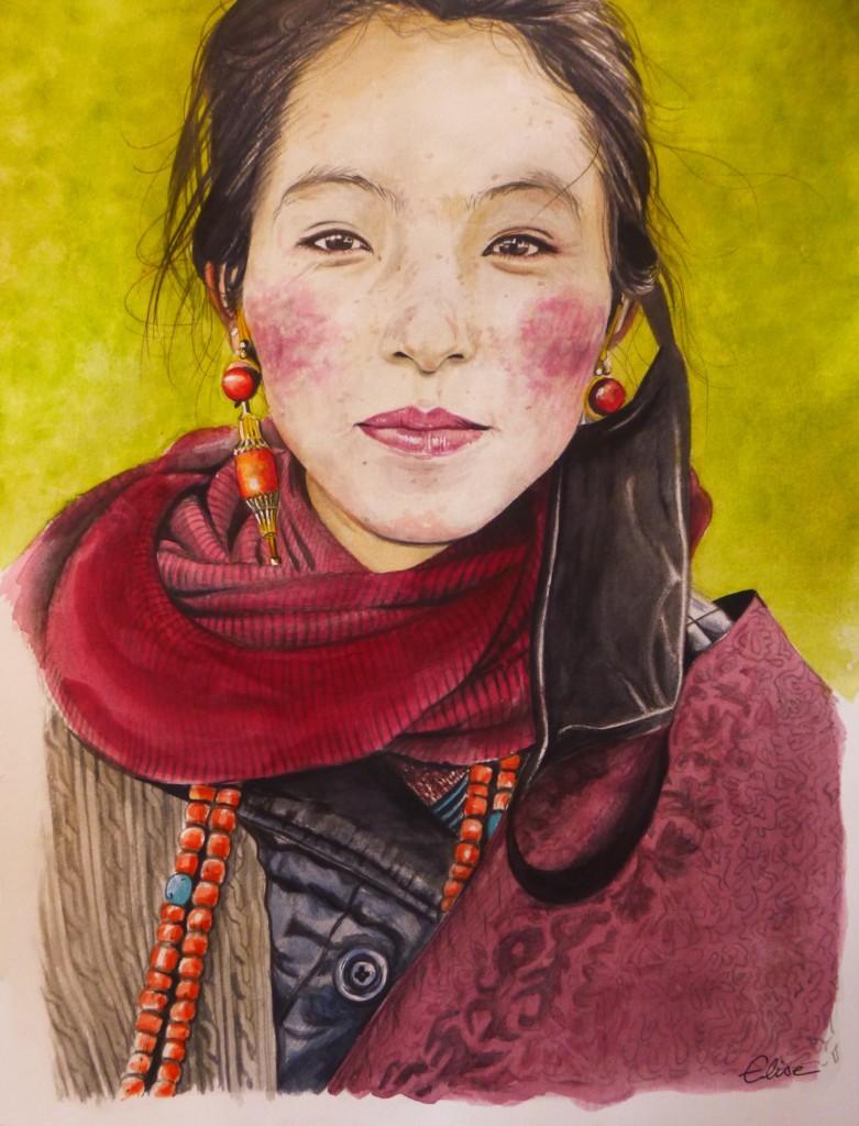 Portrait dessin d'une splendide jeune femme tibétaine