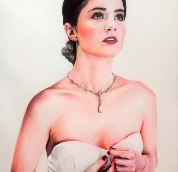 Portrait individuel : dessin d'après photo d'une jeune femme mariée