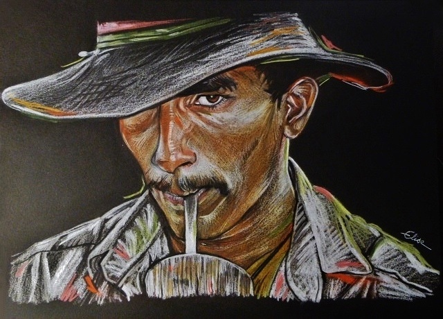 Portrait dessin d 39 un cowboy br silien au chapeau - Dessin de cowboy ...