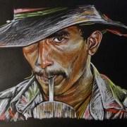 Portrait dessin d'un cowboy brésilien au chapeau