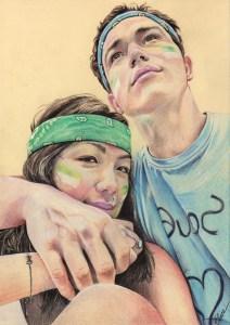 Portrait dessin d'après photo d'un jeune couple