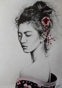 Portrait dessin d'une jeune femme asiatique en geisha
