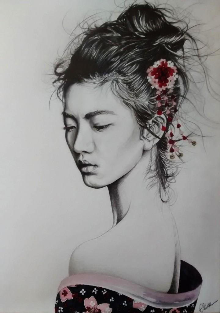 Dessin portrait d 39 une jeune femme asiatique en geisha - Portrait dessin facile ...
